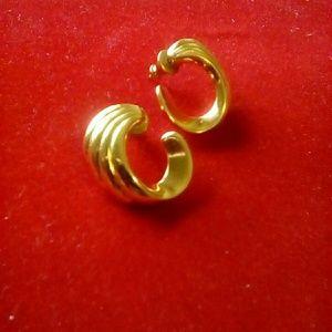 MONET Pierced Gold Tone Earrings